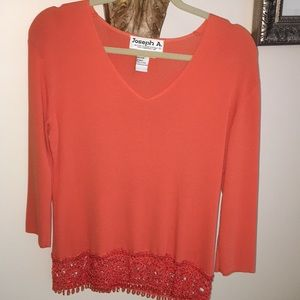 Orange VNeck sweater with lace bottom
